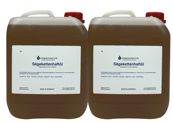 Sägekettenhaftöl auf Mineralölbasis ( 2 x 5 Liter Kanister)