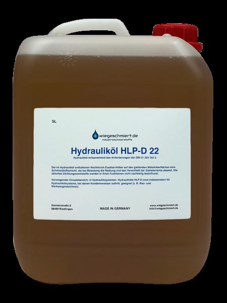 Hydrauliköl HLP-D 22 nach DIN 51 524 Teil 2